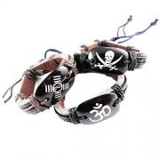 eshoppee Designer om yin yang Skull Dangerous Sign Leather Bracelet Wrist Band Set of 3 pcs for Man and Women Men's Friendship Day Gift/ Wrist Band Bracelet