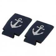 Generic 1 Pair Nautical Anchor Soda Beer Bottle Tin Can Cooler Sleeve Holder Wrap