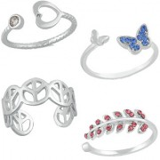 Mahi Rhodium Plated Combo of 4 Exclusive Finger Rings with Cubic Zirconia and Crystal stones CO1104744R