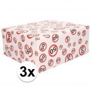 Shoppartners 3x Inpakpapier/cadeaupapier 50 jaar 300 x 70 cm op rol