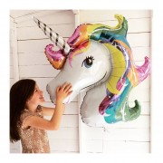 88 * 105cm Rainbow Unicorn Fiesta Gigante De Globos Con Niños Suministros Fiesta De Cumpleaños De Dibujos Animados De Animales Caballo Decoraciones