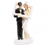 Merkloos Trouwfiguurtjes bruidspaar met fotolijst taart decoratie 14cm