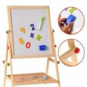 Tablita magnetica cu 2 fete marker burete creta cifre magnetice suport lemn