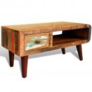 vidaXL Soffbord med böjd kant 1 låda återvunnet trä