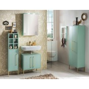 Lifestyle4Living Badmöbelset 4-tlg. in mint mit goldfarbenen Griffen und Füßen, Hochschrank, Spiegelschrank, Waschbeckenunterschrank, Seitenschrank