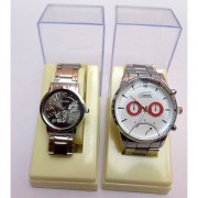 Black White Round Dial Stainless Steel Pair Watches For Men Women