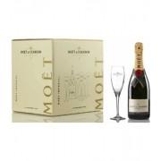 Moët & chandon brut imperial, caja con 6 copas y 6 botellas