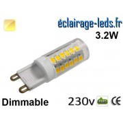 Ampoule LED G9 dimmable 3.2w smd 2835 blanc chaud 230v ref g9-08