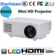 RD-805 Full Color 100 LED Projector 800 Lumens 1080P 1000 1 Contrast Ratio Projection Machine with HD VGA AV USB Remo