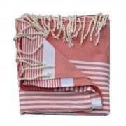 Les Poulettes Bijoux Grand Fouta Drap Plage et Hammam Coton Couleur Rouge Rayé Blanc 150 x 250cm
