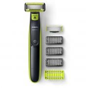 Aparat de ras Philips OneBlade Face+Body QP2620/20, Wet&Dry, 3 piepteni faţă, 1 pieptene corp, Autonomie 45 min., Ni-MH, Husă, Verde lime/Gri cărbune