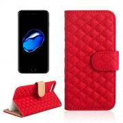 AA00356 For iPhone 7 Plus Diamond Lattice Texture Horizontal Flip Leather Protective Case with Holder & Card Slots & Wallet & Photo Frame(Red)