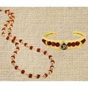 Fashion Combo of Gold Plated Rudraksha Mala with OM Leaf Shaped Rudraksha Bracelet Kada For Men and Boys