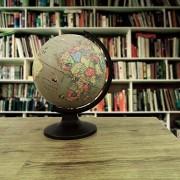 Rotating Desktop Globe Earth Gray Ocean Geography Globes Table Décor 11.3'