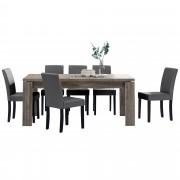 PremiumXL - [en.casa] Blagovaonski stol - rustični hrast - 170x79 cm - sa 6 tapeciranih stolica - tamno siva -