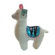 Jucarie de plus Lama Alba, cu paiete reversibile, stralucitoare, multicolore 45 cm