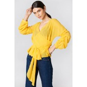 NA-KD Tied Waist Gathered Sleeve Blouse - Blouses - Yellow