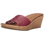 Skechers Cali Women's Beverlee Party Hopper Wedge Sandal, Wine, 5 M US