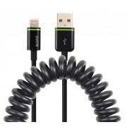 Cablu de date spiralat LEITZ Complete Lightning, port USB, 1 m - negru