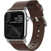 Nomad Leather Strap Modern Brown Silver Hardware Apple Watch 40/38mm