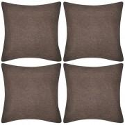 vidaXL 4 Brown Cushion Covers Linen-look 50 x cm