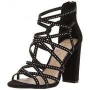 Jessica Simpson Women's Emmi Heeled Sandal, Black Microsuede, 7 Medium US