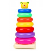 Imaging Solutions Plastic Baby Kids Teddy Stacking Ring Jumbo Stack up Educational Toy Multicolour Rings Tower Construction Toys