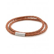 Skultuna Two Row Leather Bracelet Brown Steel