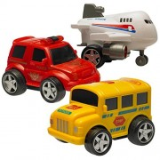 Set Of 3 High Quality Friction Powered Plastic Vehicle Stocking Stuffers Play Set School Bus Police Car And Jet Plane Toy For Kids (Great Christmas Stocking Stuffer)