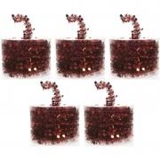 Merkloos 5x Rode kerstboomslingers 700 cm - Kerstslingers
