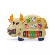 Flipzon Cow Musical Piano With 3 Modes Animal Sounds, Flashing Lights & Music, MultiColor