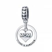 Talisman Charm argint 925 KRASSUS Love U Mom, pentru bratara sau pandantiv lant, model mama