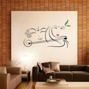 EJA Art Radhe Krishna with Flute Wall Sticker (Material - PVC) (Pec - 1) With Free Set of 12 pec butterflies sticker