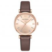 MINI FOCUS Fashion Casual Ladies Watches Crystal Dial Quartz Watch Women Leather Strap Wristwatch - Brown