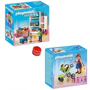 Playmobil Mall Set: Mother With Infant Stroller And Toy Shop