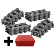 8x Straight Track + 8x Curved Tracks Lego Straight and Curve Straight Rails Track (City RC Train Straight Track / Lego Curved Track)