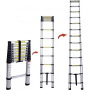 Professionele Telescopische Uitschuifbare Ladder - Telescoop Ladder - Klus Trap - Lichtgewicht & Ruimtebesparend - Antislip - Aluminium - Telescooplader - Werkhoogte 2,6 Meter