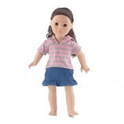 18 Inch Doll Clothes | Awesome Medium Wash Blue Denim Ruffled Skirt Outfit, Including Short Sleeved Striped T-Shirt with Hood | Fits American Girl Dolls by Emily Rose Doll Clothes