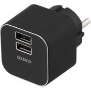 Deltaco Väggladdare 230V till 5V USB 3,1A 2xUSB-portar svart