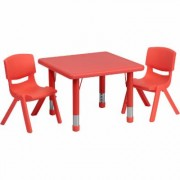 Flash Furniture Kids' Activity Table Set - Red, 24Inch Square Table, 2 Chairs, Model YCX23SQTBLREDR