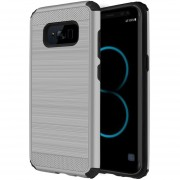 Funda Case Para Samsung S8 Plus Doble Protector De Uso Rudo Plástico Con Aspecto Metalico - Silver (Armor)