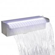 vidaXL Правоъгълен фонтан за басейн, LED, неръждаема стомана, 30 см