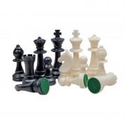 Piese de șah din plastic STAUNTON nr 6 negru/crem