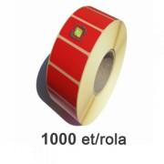 Piros thermo etikett címke, 58x43mm, 1000 címke/tekercs
