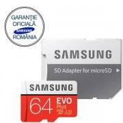 Card de memorie Samsung EVO Plus MB-MC64GA/EU, micro SDHC UHS-I 64GB (Clasa 10), 95MB/s, Waterproof + Adaptor SD