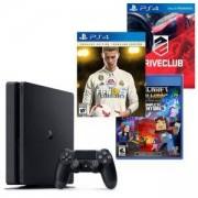 Конзола PlayStation 4 Slim 500GB Black, Sony PS4+Игра FIFA 18 Ronaldo edition+Игра DRIVECLUB +Игра Minecraft: Story Mode - The Complete Adventure