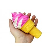 Large Ice Cream Cone Squishy Slow Rise Sweet Treat - Sensory, Stress, Fidget Toy (Pink)