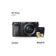 Câmera digital Sony Alpha a6000 Mirrorless + Lente 16-50mm, com Cartão de 32gb (C/10), Bolsa, Tripé de mesa e Kit Limpeza