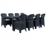 vidaXL Set mobilier exterior, 9 piese, antracit, plastic, aspect ratan