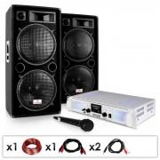 "Electronic-Star Equipo PA ""DJ-21"" – amplificador, altavoces, micrófono 2000W (PL-4821-0211)"